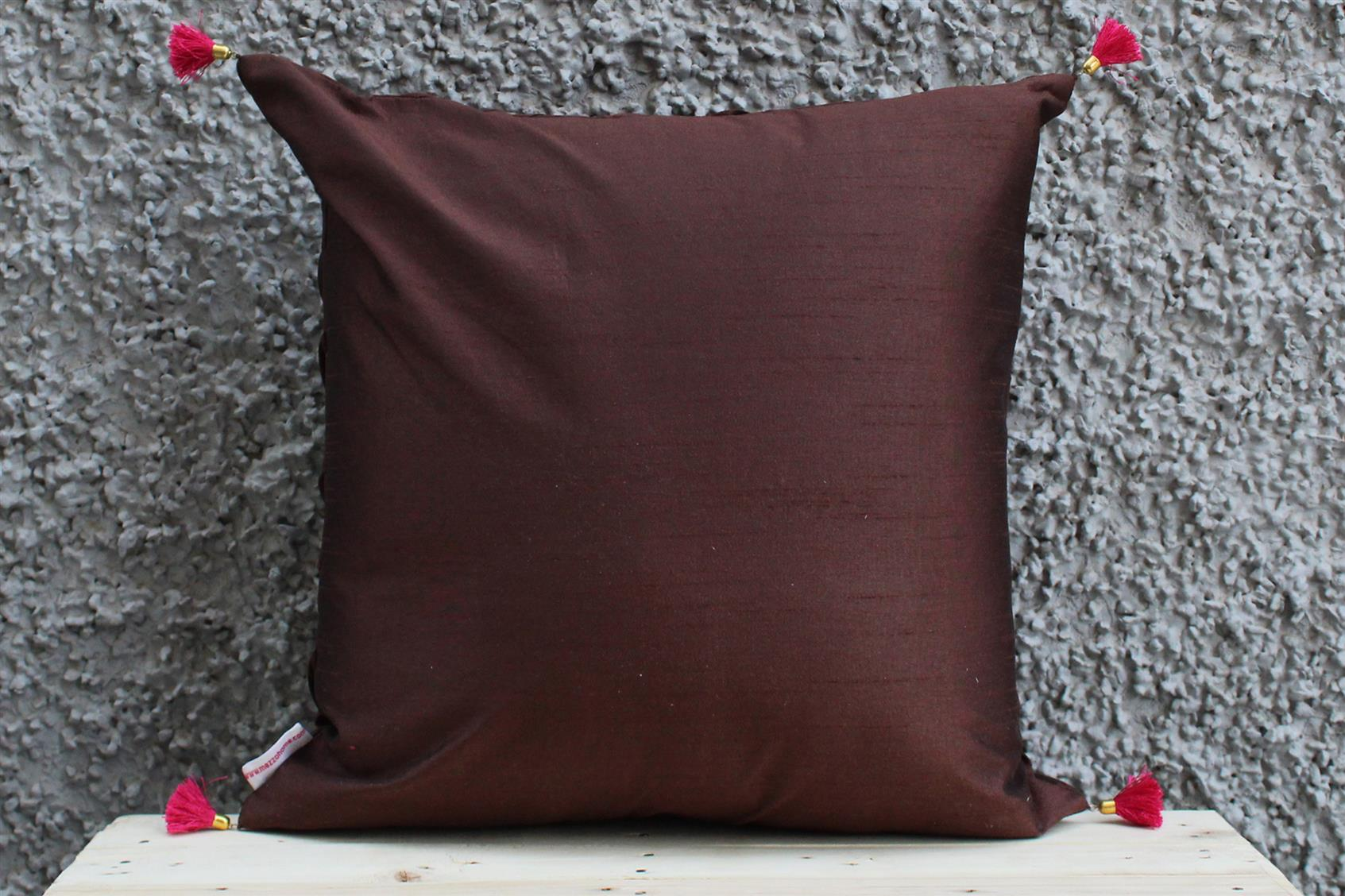 Brown Pleated Cushion Cover