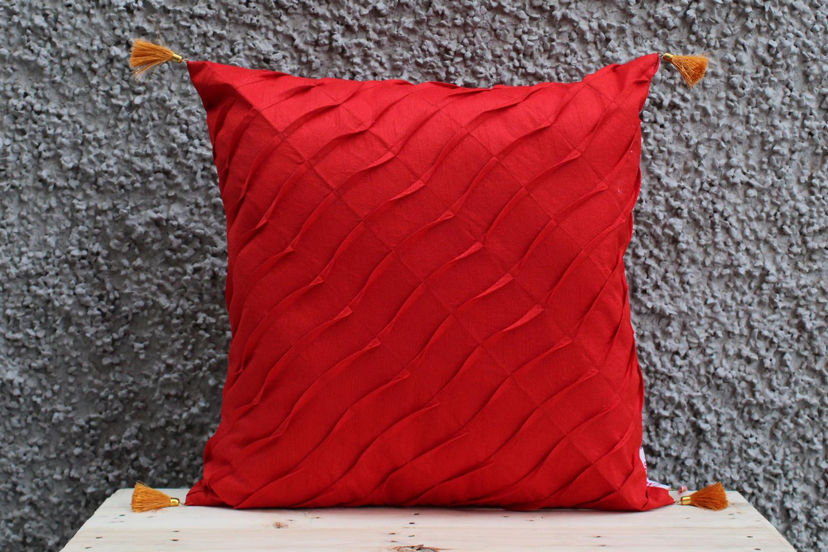Maroon Pleated Cushion Cover