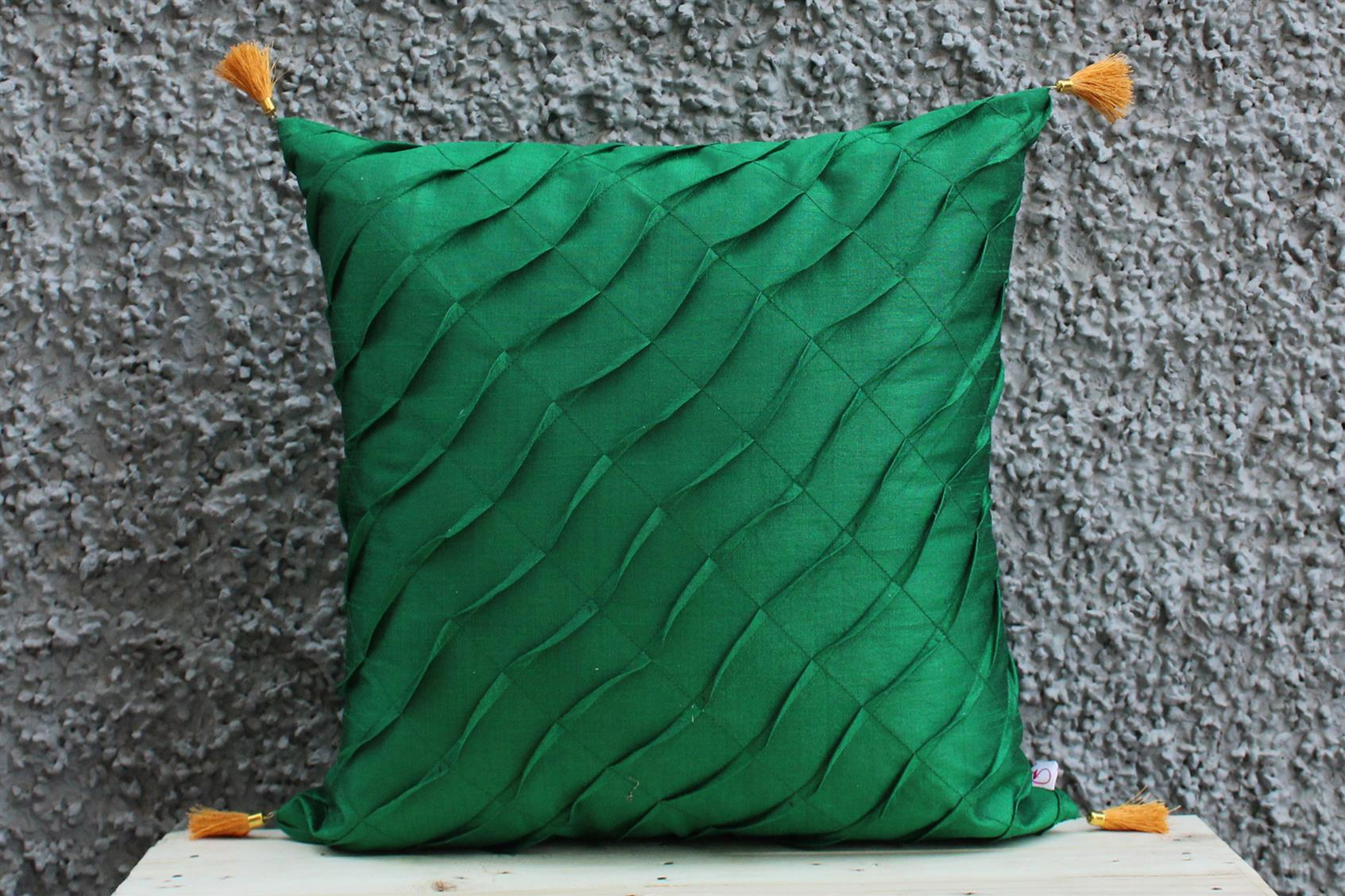 Green Pleated Cushion Cover