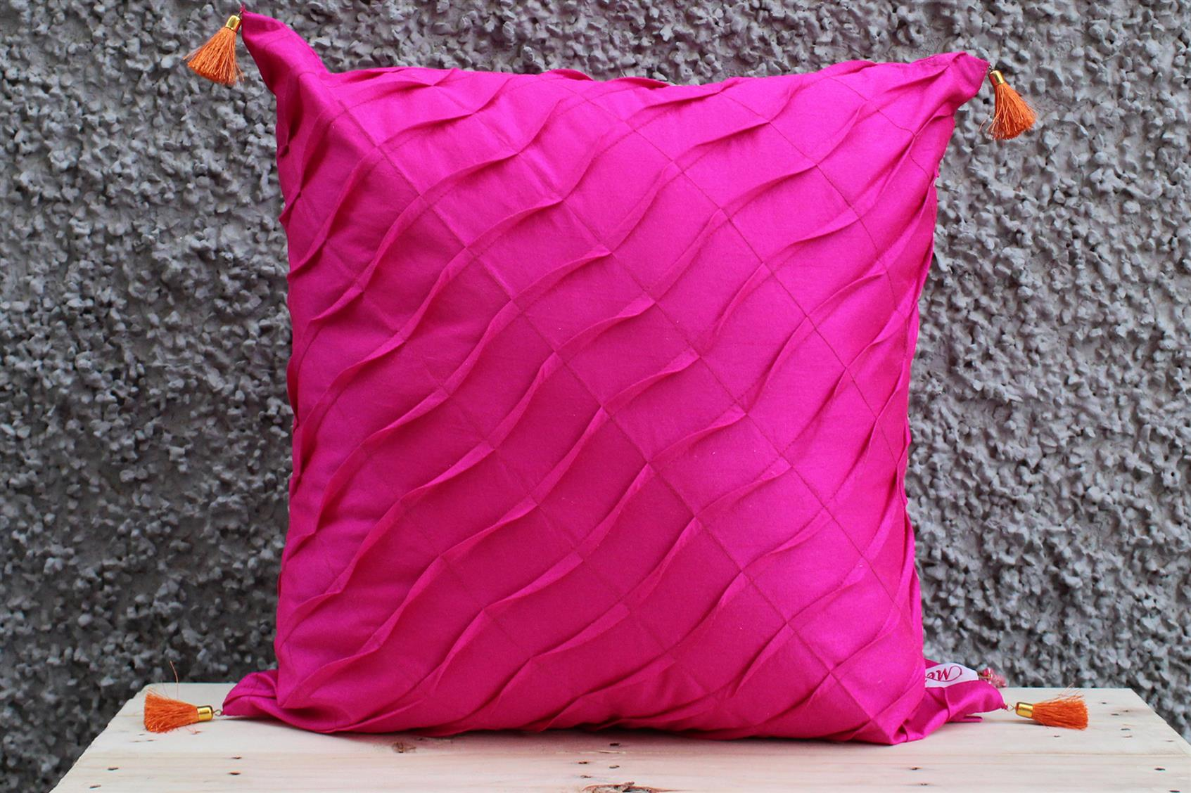 Pink Pleated Cushion Cover