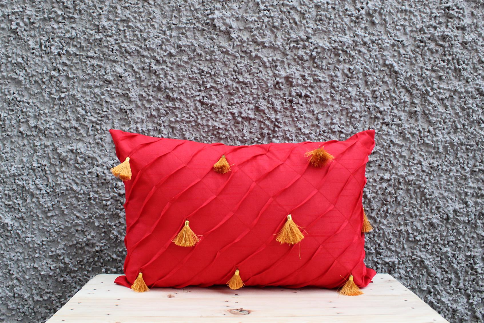 Red Tassel Cushion Cover