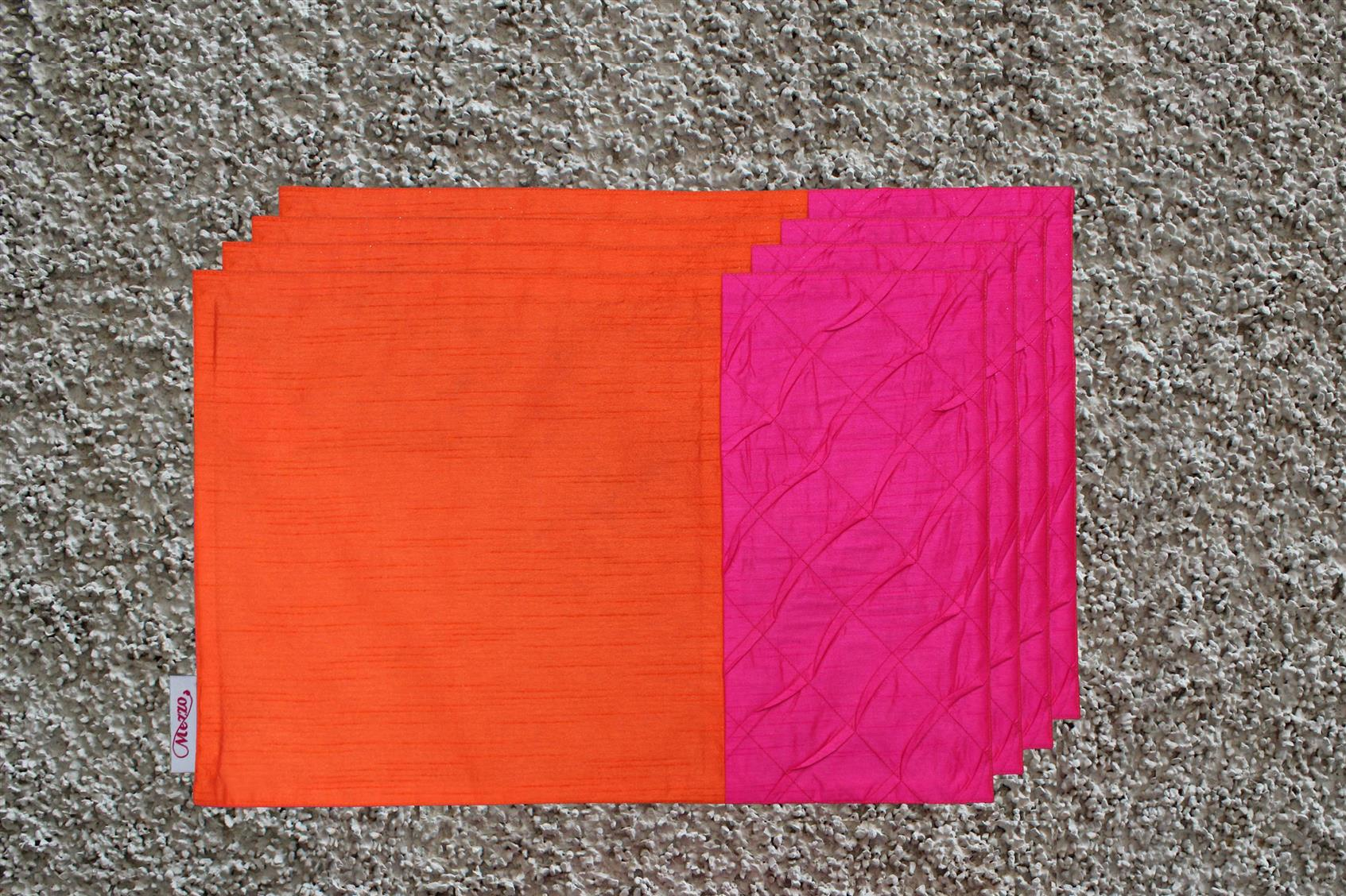 Orange-Pink Pleated Placemat (Set of 4)
