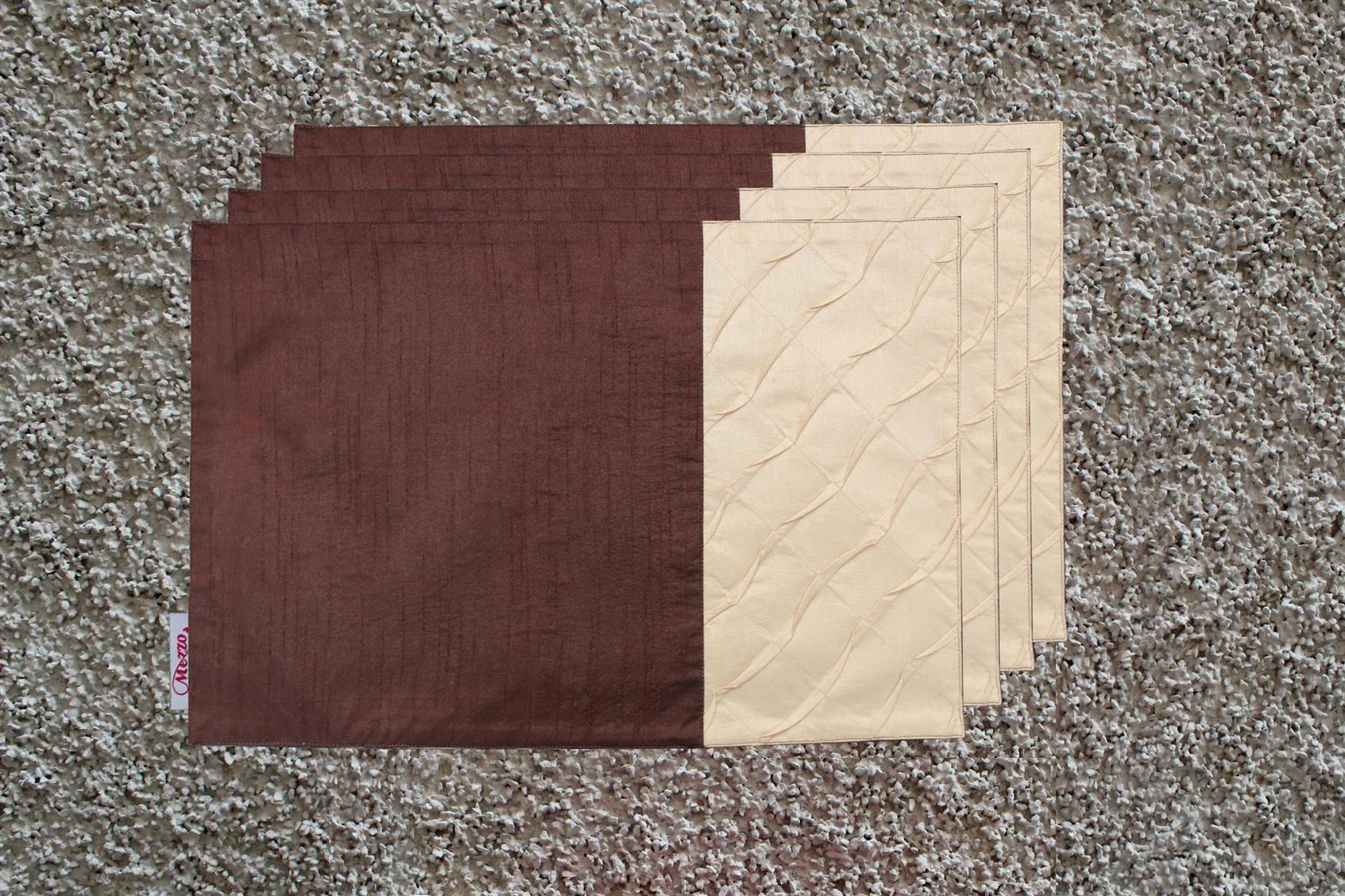 Brown-Cream Pleated Placemat (Set of 4)
