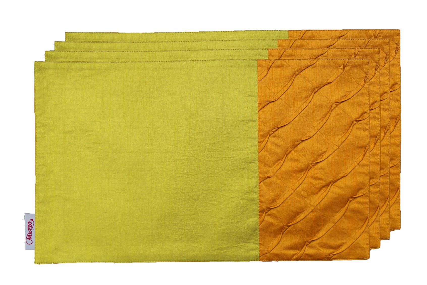 Olive-Gold Pleated Placemat (Set of 4)