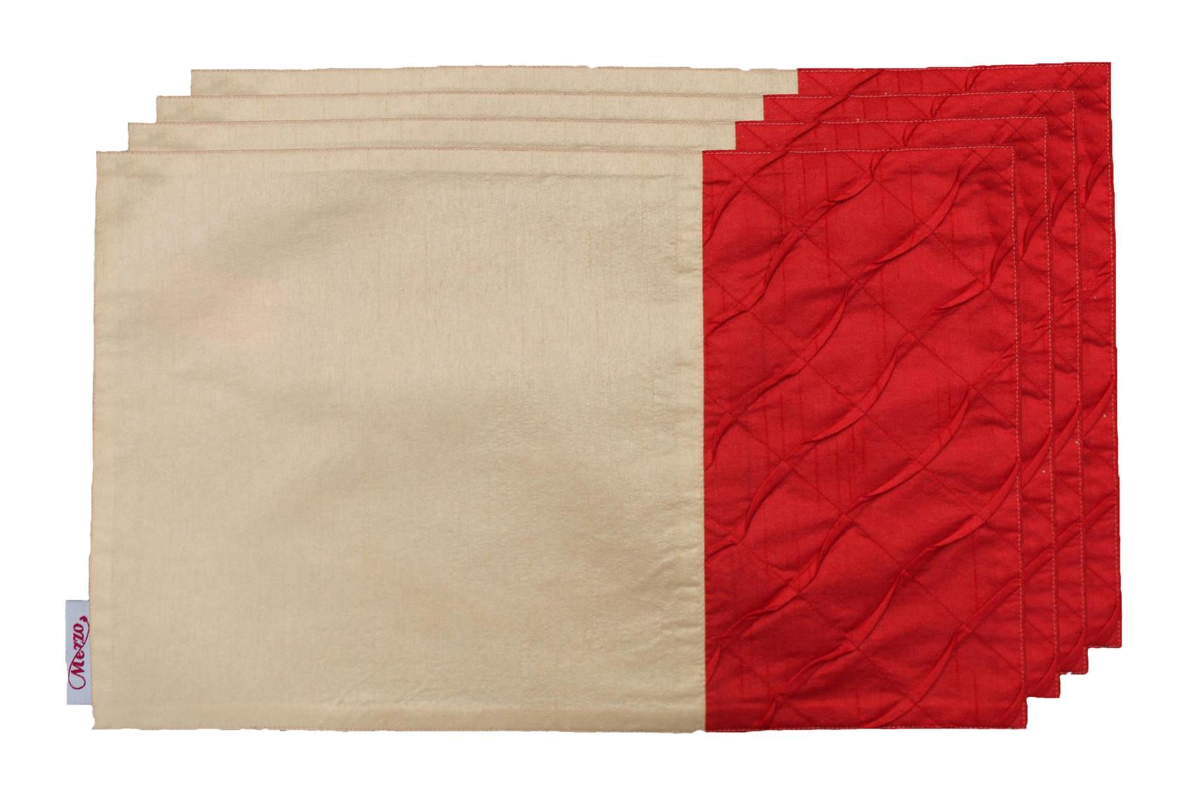 Cream-Red Pleated Placemat (Set of 4)