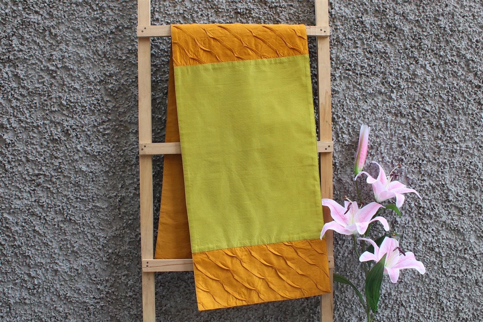 Olive-Gold Pleated Runner